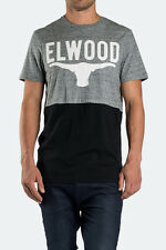 ELWOOD MENS GREY MARLE PRINTED HALFLIFE T-SHIRT WITH CONTRAST PANELLING
