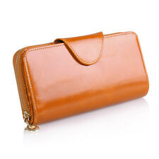 Long Zip Wallet Phone Card Holder Case Purse Women's Ladies Real Genuine Leather