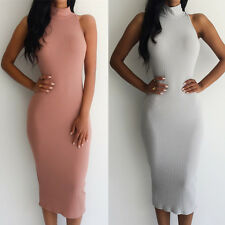 Sleeveless Pencil Dress Turtleneck Sexy Bodycon Party Bandage Dresses Clubwear