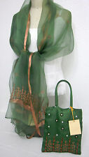 Silk Blend Scarf With Matching Purse Embroidery with Ribbon Olive & Bronze  New