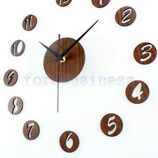 Vintage Antique Wooden DIY Wall Clock 3D Numbers Stickers Adhesive Watches