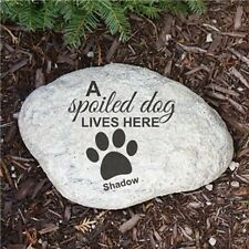 Personalized a Spoiled Dog lives Here Garden Stone Engraved Dog Garden Stone