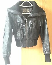 Ladies Real Leather New Look Black Bomber Jacket