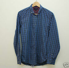 Ted Baker shirt size 2 UK 10 blue check checked plaid long sleeves collared