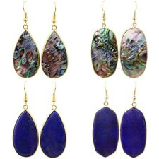 Oval/Teardrop Bead Lapis Lazuli Abalone Shell Gemstone Hook Dangle Ear Earrings