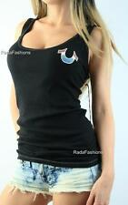 TRUE RELIGION TR Rib Rainbow Horseshoe Logo Fitted Tank Top Black NWT