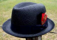 NEW Black Men's GODFATHER Straw HOMBURG Fedora Gangster Kid Rock n Roll Hat