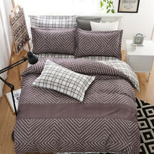 Modern Brown Single Double Queen King Size Bed Set Pillowcases Quilt Duvet Cover