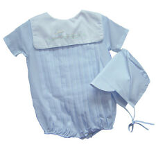 Petit Ami Boys Romper and Hat Shadow Embroidered Blue Train NWT NB 3 6 9m