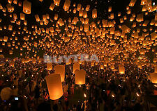 Chinese Sky Lanterns Party Wedding Fly Wishing Lamp Fire Candle Paper 9Colours T