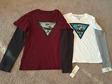 NEW Guess Logo Graphic Layered Long Sleeve Tee Youth Boys. Size M(12/14), XL(20)
