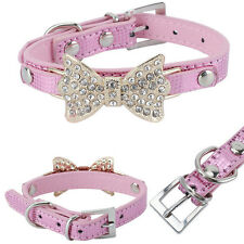 Pink Dog Leather Collars PU Leather Pet Puppy Collar Crystal Rhinestone Bowknot