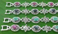 """REAL 925 Sterling silver Real """"RUBY SAPPHIRE EMERALD & Marcasite BRACELET -WOMEN"""