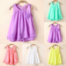 Kids Girls Chiffon Casual Vest Tops Toddler Baby Party Sundress 1 2 3 4 5 Years