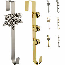 Christmas Wreath Door Hook Decoration Silver Gold - Choose Colour-Design