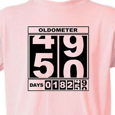 "WOMENS 50th BIRTHDAY T-Shirt ""OLDOMETER"" PINK Tee 50 Year Old BIRTHDAY FUNNY TEE"