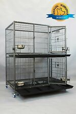 "New 37"" and 43"" Two Tier Heavy Duty Metal Dog Cat Pet Crate Kennel Cage w/ Bowls"