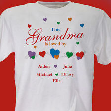 Personalized Grandma Gift This Grandma or Mom is Loved by T-Shirt add kids names