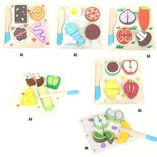 Fruit & Vegetable Hand Grasp Wooden Jigsaw Toy Puzzle Learning Education Kid Toy