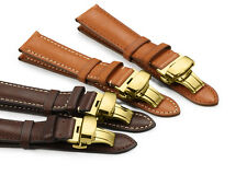 18-22mm Genuine Calf Leather Watch Band Golden Deployant Clasp Strap For Tissot