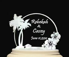 Personalized Wedding Cake Topper Beach Hibiscus Theme Optional LCD Lighted base