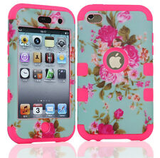 New Heavy Duty Hybrid Silicone Hard Soft Case Cover Skin For iPod Touch 4th Gen