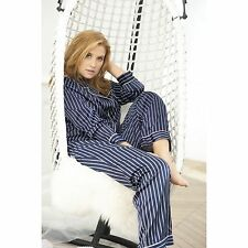 Louise Marnay Womens Striped Satin Grandad-Style Pyjamas