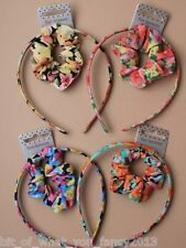 Floral Printed Fabric Aliceband with Matching Scrunchie In 4 Colours