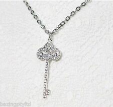 Key Rose Heart Crown Charm Pendant Silver Gold White Chain Necklace Eiffel Tower