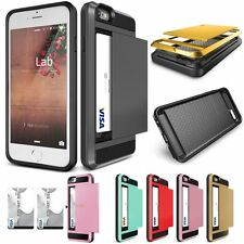 For iPhone 5 5S 6 6Plus Hard Hybrid Armor Case Cover With Slide Card Slot Holder