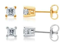 Solid 14k White or Yellow Gold Princess iamond Solitaire Studs Earrings 1/4 ct