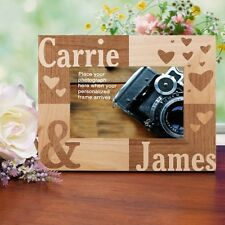 Personalized Couples Picture Frame Engraved Hearts Love Valentines Photo Frame