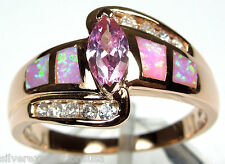 Rose Gold Plated Pink Topaz & Pink Fire Opal Inlay 925 Sterling Silver Ring 6