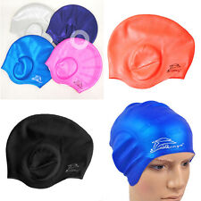 Fresh Waterproof Adults Silicone Stretch Swimming Cap Long Hair Hat With Ear Cup
