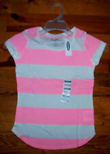 New! Girls OLD NAVY Bright Pink & White Cotton Stripe Short Sleeve Casual Shirt