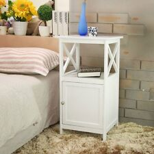 White Shabby Chic Nightstand Cabinet Bedside Table with Storage Cupboard Bedroom
