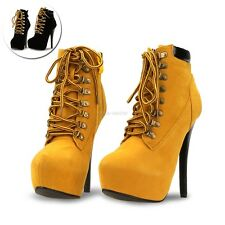 Sexy Women Pointed Toe Stiletto High Heels Lace Up Ankle Boots Shoes MDWK