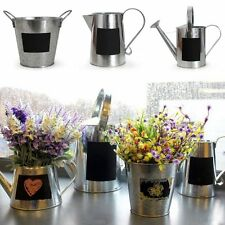 Zinc Metal Watering Can With Chalk Board Jug Herb Planter Garden Home Plant Pot
