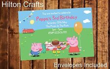 Peppa Pig George Pig Personalised Party Invites x12 Invitations Birthday