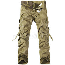 MEN'S MILITARY ARMY CARGO COMBAT WORK PANTS CASUAL TROUSERS KHAKI IN SIZES