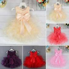 Baby Girl Summer Sequin Bowknot Tulle Pageant Wedding Party Tutu Cake Dress 1-3T
