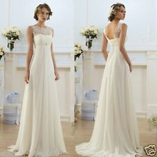New Beach White/Ivory Wedding Dress Bridal Gown stock Size:6 8 10 12 14 16 18