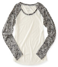aeropostale womens long sleeve floral raglan tee shirt cream