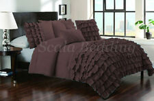 New Waterfall Half Ruffle Duvet Cover Set All Size Brown 1000TC Egyptian cotton