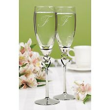 Personalized Wedding Toasting Flutes Linked Heart Engraved Champagne Glasses