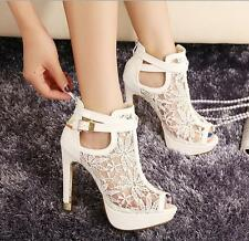Fashion Sexy Women Lace Hollow Out High-heeled Peep-toe Buckle Pump Sandal Shoes