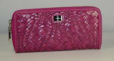 Cole Haan Travel Zip Leather Wallet Optical Weave Blue, Beet NWT Clutch
