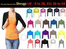 Women Ladies Plain Crop Top Long Sleeve Plus Size Laced Skinny Shrugs Cardigan