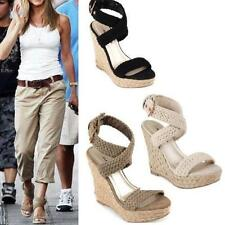 Fashion Womens Wedge High Heels Roman Ankle Cross Strap Espadrilles Shoes Size&*
