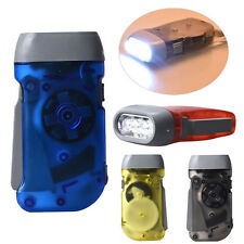 Novelty 3 LED Dynamo Wind Up Flashlight Hand-pressing Crank NR No Battery Torch
